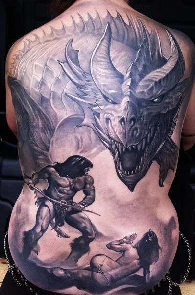 Fantasy Back Warrior Dragon Tattoo by Reinkarnation Tattoos