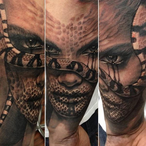 Fantasy Snake Women Tattoo by Reinkarnation Tattoos