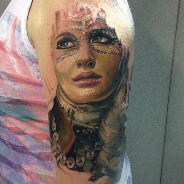 Shoulder Fantasy Women Tattoo by Reinkarnation Tattoos