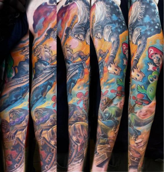 Fantasy Sleeve Tattoo by Reinkarnation Tattoos