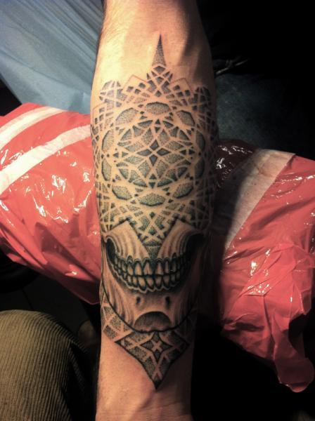 Skull Dotwork Tattoo by Holy Trauma