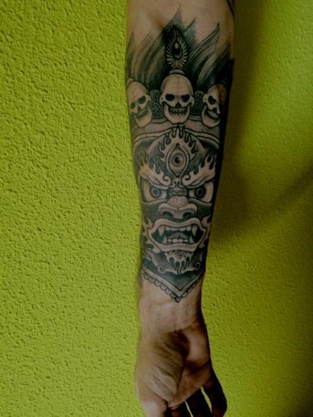 Arm Skull Demon Tattoo by Holy Trauma