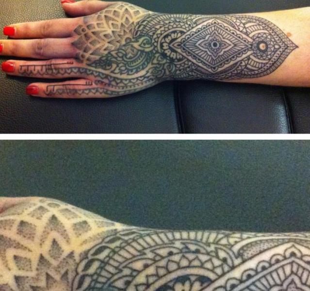 Arm Hand Dotwork Tattoo by Holy Trauma