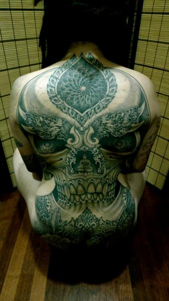 Skull Back Tattoo by Holy Trauma