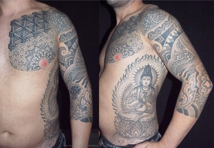 Shoulder Arm Chest Side Religious Dotwork Tattoo by Holy Trauma