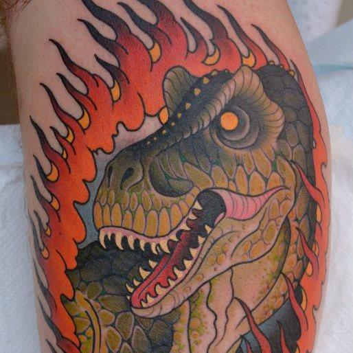 Arm New School Dinosaurier Tattoo von Peter Lagergren