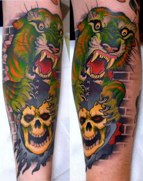 Arm New School Skull Tiger Tattoo by Peter Lagergren