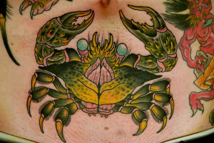 New School Belly Crab Tattoo by Peter Lagergren