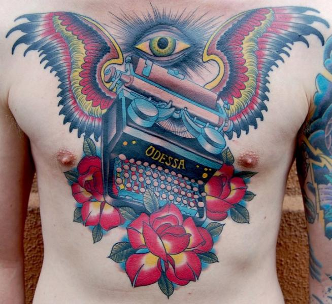 Chest Old School Flower Wings Typewriter Tattoo by Peter Lagergren