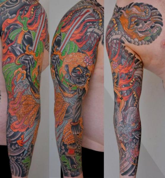 Japanese Demon Sleeve Tattoo by Peter Lagergren