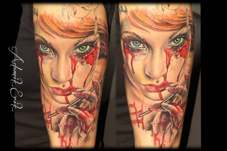 Arm Fantasy Women Blood Tattoo by Nadelwerk