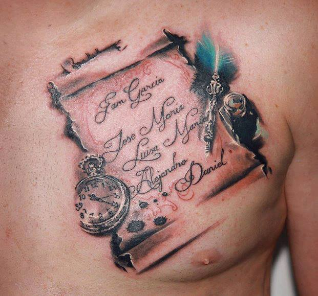 Realistic Clock Chest Lettering 3d Tattoo by Nadelwerk