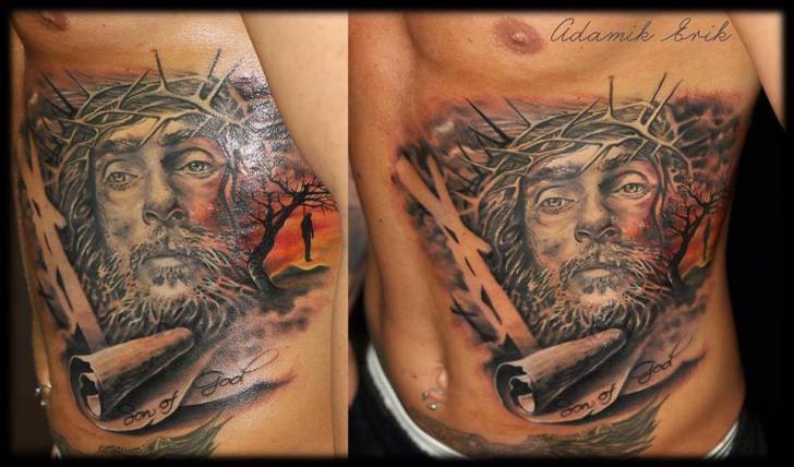 Side Jesus Religious Tattoo by Nadelwerk