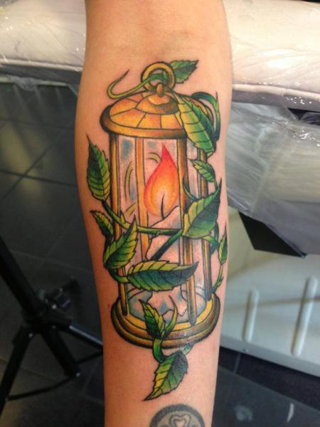 Arm Lamp Leaves Tattoo by Pistolero Tattoo