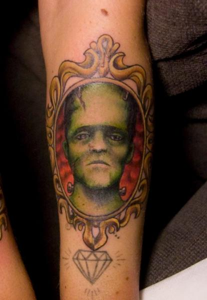 Arm Frankenstein Medallion Tattoo by Pistolero Tattoo