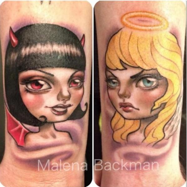 Tatuaggio Fantasy Angeli Diavolo di Pistolero Tattoo