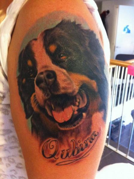 Shoulder Realistic Dog Tattoo by Pistolero Tattoo
