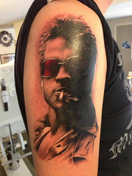 Shoulder Portrait Realistic Brad Pitt Tattoo by Pistolero Tattoo