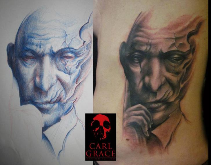 Fantasy Portrait Side Tattoo by Carl Grace