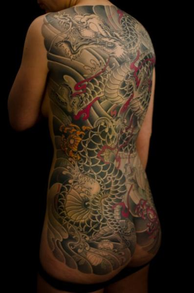 Japanese Back Dragon Butt Tattoo by Admiraal Tattoo