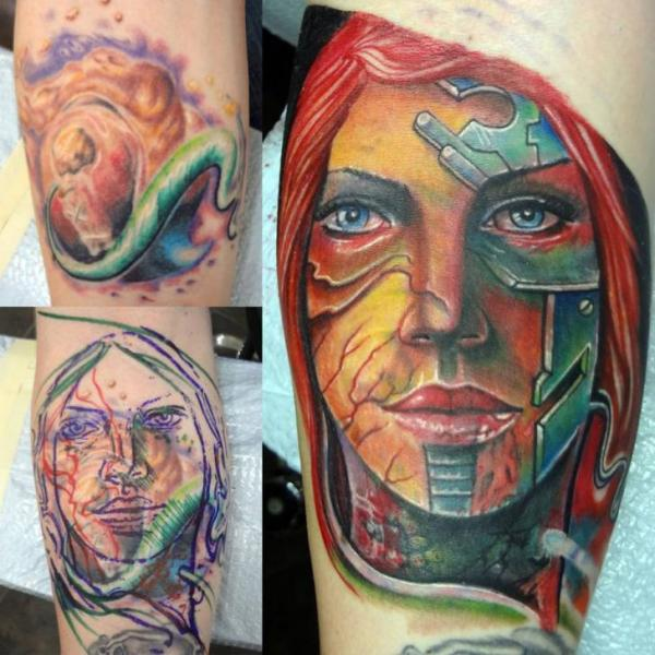 Arm Fantasy Women Cover-up Tattoo by Insight Studios