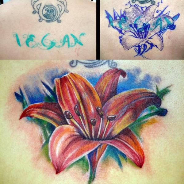 Realistic Flower Cover-up Tattoo by Insight Studios