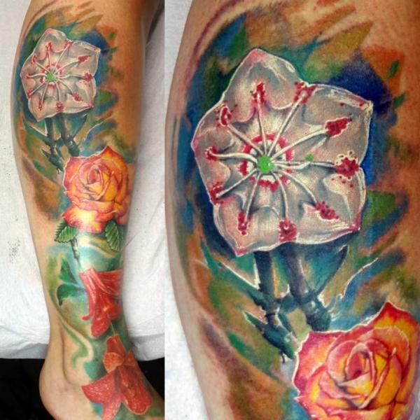 Leg Flower Tattoo by Insight Studios