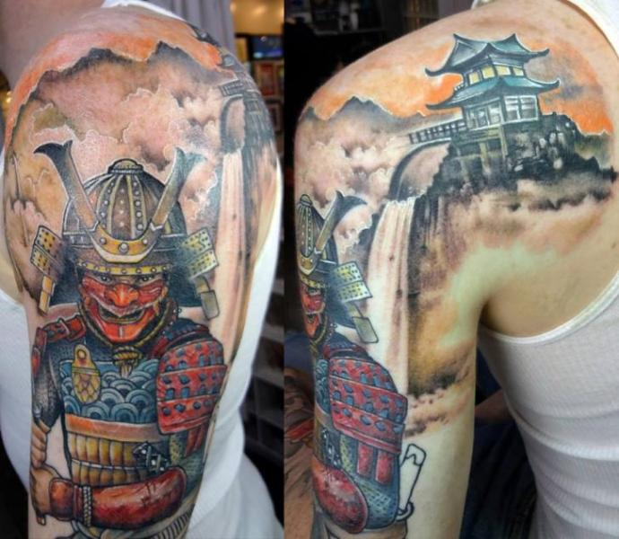 Shoulder Arm Japanese Samurai Tattoo by Insight Studios