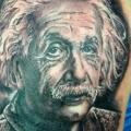 Shoulder Portrait Einstein tattoo by Insight Studios