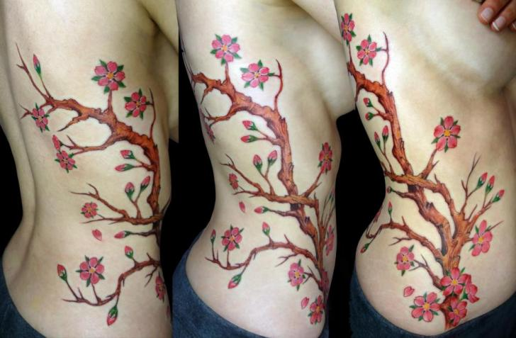 Realistic Flower Side Cherry Tattoo by Insight Studios