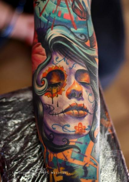 Arm Mexican Skull Tattoo by Robert Witczuk
