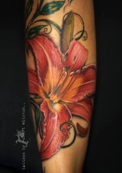 Arm Realistic Flower Tattoo by Robert Witczuk