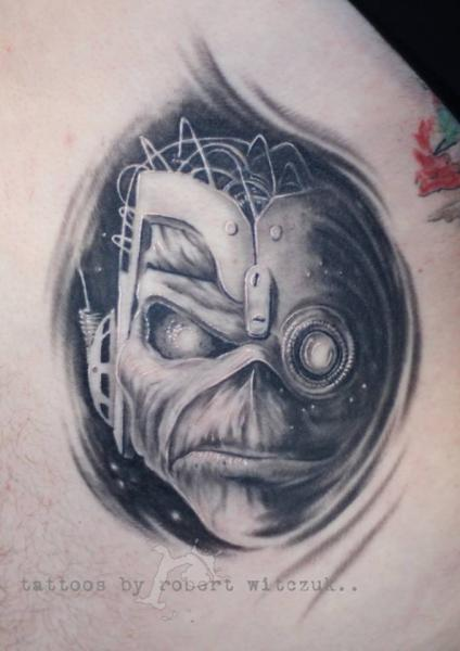 Fantasy Realistic Iron Maiden Tattoo by Robert Witczuk