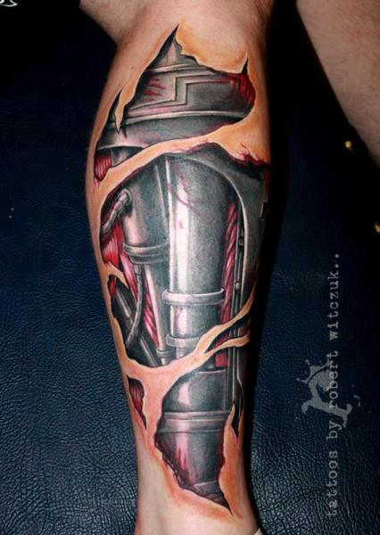 Biomechanical Leg Tattoo by Robert Witczuk