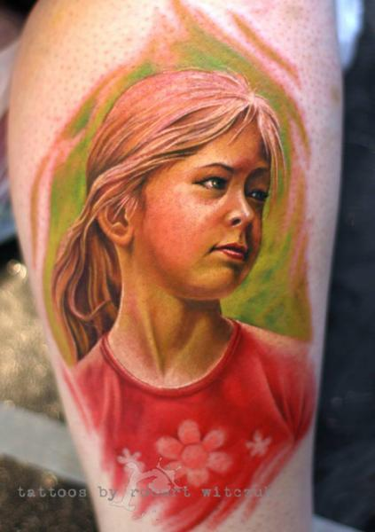 Shoulder Portrait Realistic Tattoo by Robert Witczuk