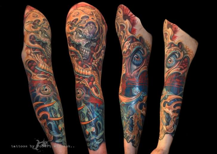 Fantasy Skull Eye Sleeve Tattoo by Robert Witczuk