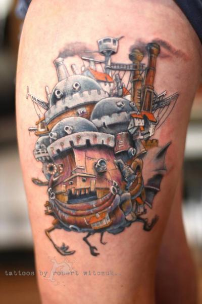 Fantasy Thigh Tattoo by Robert Witczuk