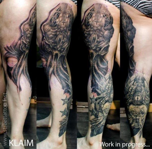 Fantasy Leg Thigh Tattoo by Street Tattoo