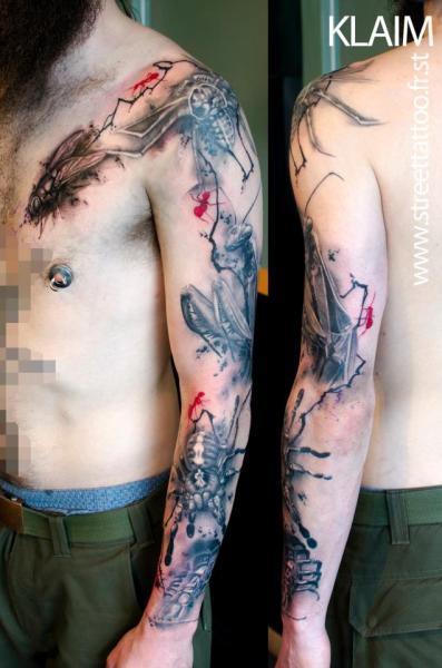 Fly Moth Spider Sleeve Tattoo by Street Tattoo