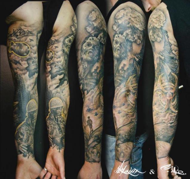 Soldier War Bomb Sleeve Tattoo by Street Tattoo