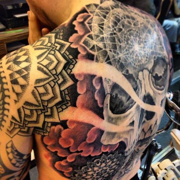 Shoulder Skull Back Dotwork Tattoo by Dermagrafics