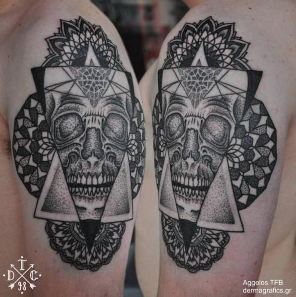 Shoulder Skull Dotwork Tattoo by Dermagrafics