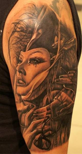 Shoulder Fantasy Women Tattoo by PS Tattoo