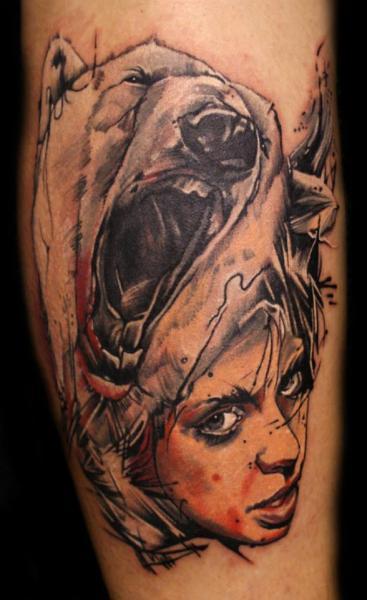 Shoulder Children Bear Tattoo by PS Tattoo
