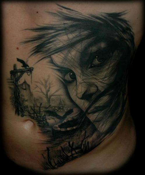 Fantasy Side Women Belly Tattoo by PS Tattoo