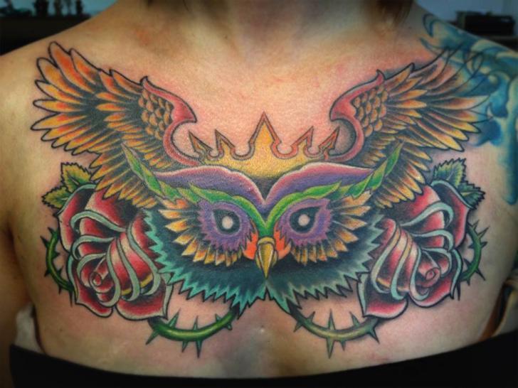 Tatuaggio New School Fiore Gufo Seno di Serenity Ink 414