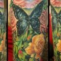 Shoulder Realistic Flower Butterfly tattoo by Serenity Ink 414