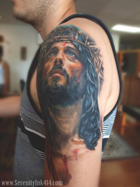 Shoulder Jesus Religious Tattoo By Serenity Ink 414