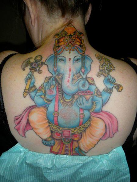 Back Religious Ganesh Tattoo by Tora Tattoo
