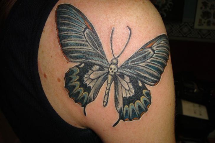 Shoulder Butterfly Tattoo by Tora Tattoo